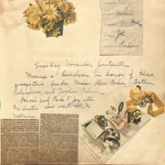 An image of a scrapbook page commemorating a luncheon for propsective brides. From the Ewing Scrapbook Collection at the UH Digital Library