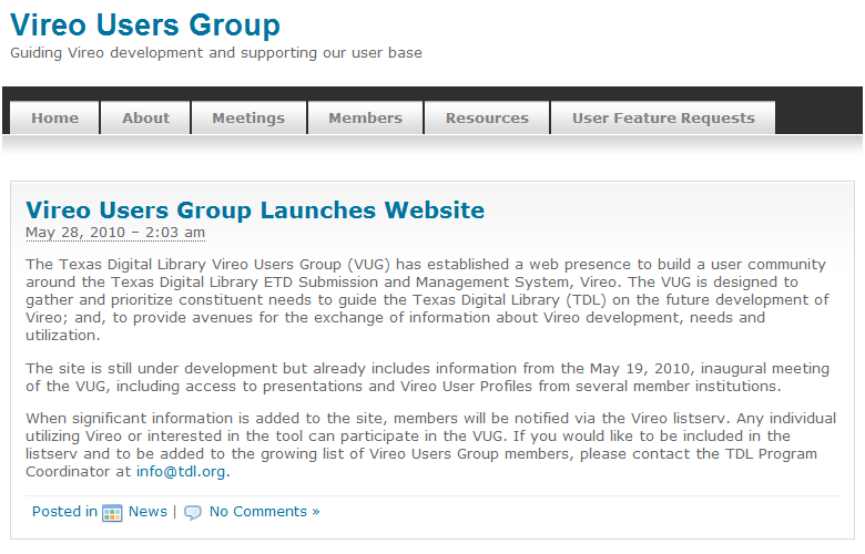 screen shot of Vireo Users Group website