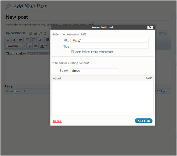 Internal Linking in WordPress 3.1