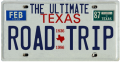 Image of a license plate stating, The Ultimate Texas Road Trip